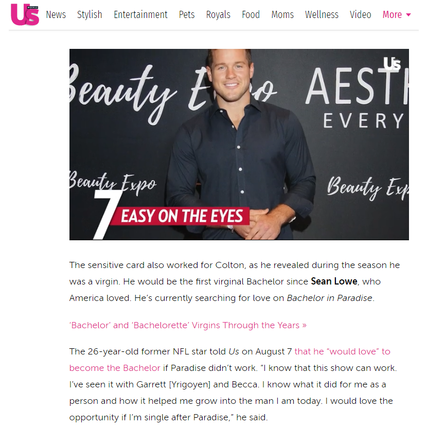 Congrats To Colton Underwood! The next Bachelor! Thank you US Weekly – Aesthetic Everything Beauty Expo Red Carpet!