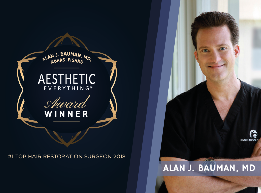 "PRESS RELEASE: Pioneer Hair Transplant Surgeon Dr. Alan J. Bauman Wins ""#1 Top Hair Restoration Surgeon"" in Aesthetic Everything® Awards"